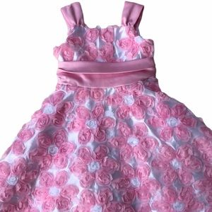 Rare Editions Little Girl Floral Pink Dress Size 5